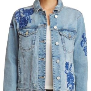 Blank Jean jacket with floral embroidery patches